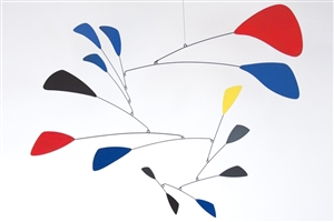 modern calder style hanging mobile black and colors