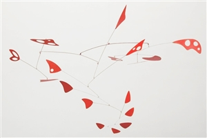red mid-century modern calder style hanging mobile