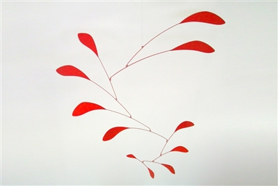 red mid-century modern hanging mobile