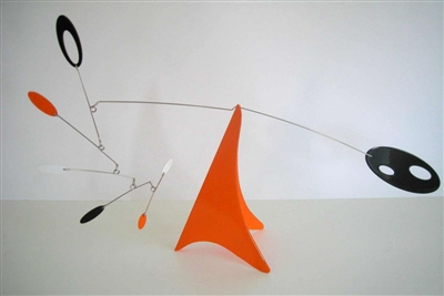 orange mid-century modern hanging tabletop mobile