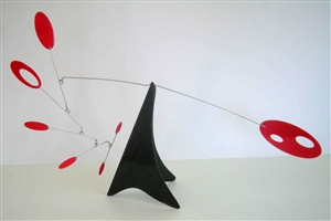 red black mid-century modern hanging tabletop mobile