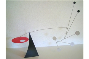 red, white, and black modern calder style hanging tabletop mobile
