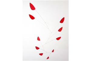red modern calder style hanging mobile