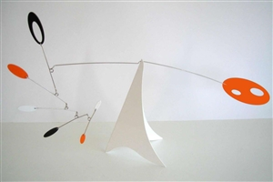 orange modern calder style hanging tabletop mobile