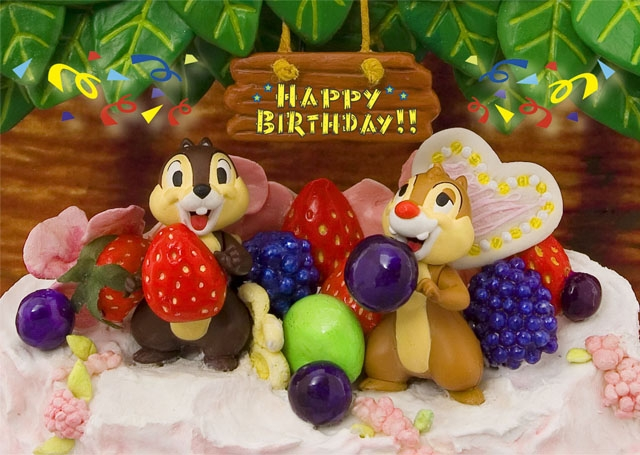 Disney Chip And Dale Big Birthday Cake 3D Lenticular Greeting Card