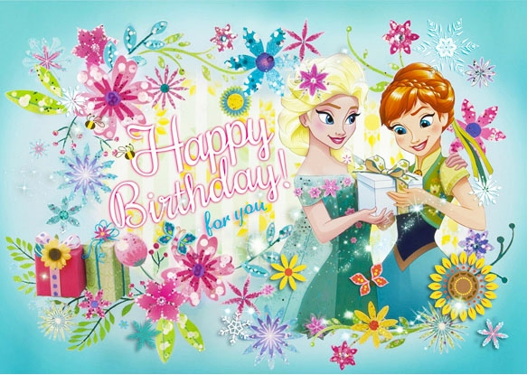 Disney Frozen Elsa And Anna Floral Birthday 3d Lenticular Card