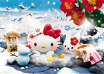 Hello Kitty Hot Spring in the Snow 3D Lenticular Greeting Card