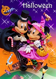 Disney Mickey and Minnie Halloween Night 3D Lenticular Greeting Card