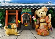 Teddy Bear Japanese Shrine 3D Lenticular Greeting Card