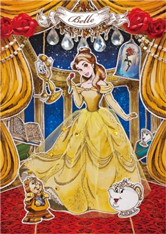 Disney Princess Belle Paper Theater 3D Lenticular Card