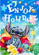 Disney Stitch Enjoy Holiday Happy Summer 3D Lenticular Greeting Card