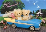 Wedding Teddy Bear Just Married 3D Lenticular Greeting Card