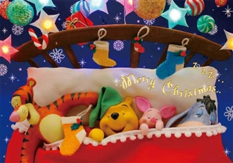 Disney Winnie the Pooh Welcome Santa Claus 3D Lenticular Greeting Card