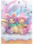 Teddy Bear and Rabbit Sweet Snow Forest 3D Lenticular Greeting Card