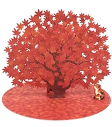 Laser Cut Autumn Blossom with Cat Multipurpose Pop Up Greeting Card