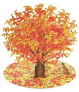 Brilliant Autumn Leaves with Cute Doggy Laser Cut Pop Up Greeting Card