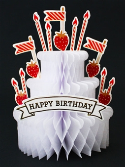 Happy Birthday Strawberry Cake Honeycomb Pop Up Decorative Greeting Card