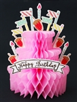 Happy Birthday Pink Cake Honeycomb Pop Up Decorative Greeting Card