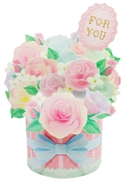 Flower Bouquet - Soft Color Roses - Pop Up Greeting Card