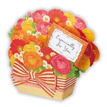 Blooming Chamomile Scented Bouquet Gift Basket Pop Up Greeting Card
