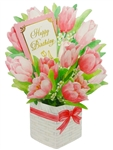 Happy Birthday Flower Bouquet - Tulip - Pop Up Greeting Card
