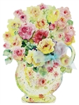Rose Flowers in A Ceramic Pitcher Vase Pop Up Greeting Card