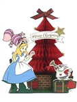 Alice in Wonderland Red Honeycomb Christmas Tree Pop Up Greeting Card