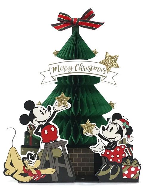 mickey and minnie green honeycomb christmas tree pop up greeting card - Mickey Christmas Tree