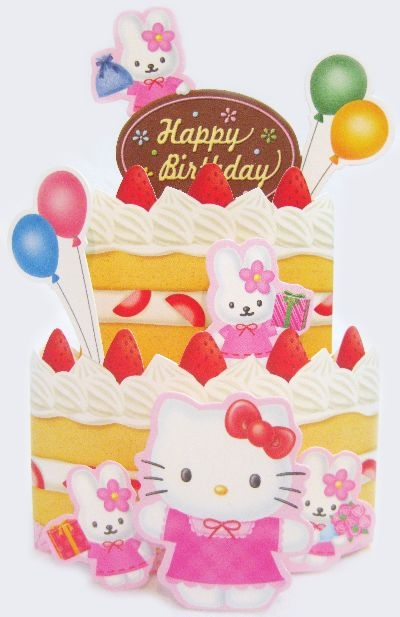 Hello Kitty Birthday Cake with balloon Pop Up Greeting Card
