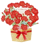 Carnation Blooming Basket Pop Up Mother's Day Card