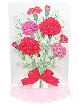 Mother's Day Blooming Carnations Bouquet Pop Up Card