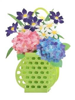 Hydrangea in Basket Planter Pop Up Decorative Greeting Card