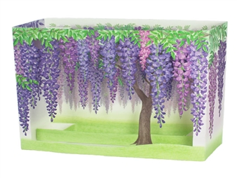 Laser Cut Purple Wisteria Blooms Pop Up Decorative Greeting Card