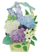 Luxuriant Flower Basket Of Blooming 3D Pop Up Card