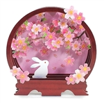 Cherry Blossoms with Rabbit Pop Up Decorative Greeting Card