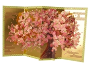 Cherry Blossom w/ Gold Folding Screen Pop Up Decorative Greeting Card