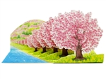 Cherry Blossoms On the Riverside Multipurpose Pop Up Greeting Card