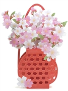 Cherry Blossom Bouquet in Bamboo Vase Pop Up Greeting Card