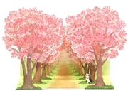 Cherry Blossoming Trees with Cat Pop Up Greeting Card