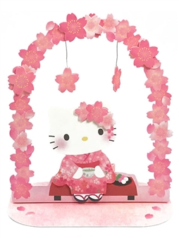 Hello Kitty Cherry Blossom Garland Pop Up Greeting Card