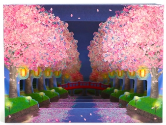 Shimmering Cherry Blossoms Night Time Garden Pop Up Greeting Card