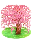 Sparkling Weeping Cherry Blossom Tree Pop Up Greeting Card