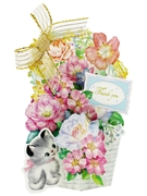 Flower Basket and Kitty Cat Pop Up Greeting Card