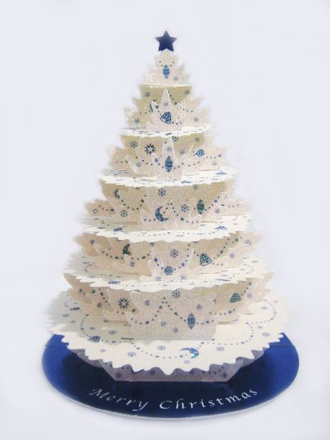 Shimmering White Christmas Tree Pop Up Christmas Greeting Card ...