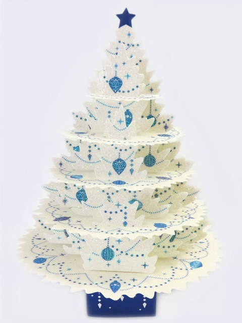 shimmering white christmas tree greeting card - Pop Up Christmas Tree