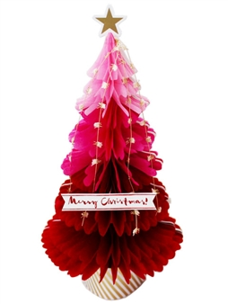 Red Christmas Tree Honeycomb Pop Up Greeting Card