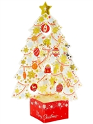 Miniature Crystal Clear Golden Christmas Tree Pop Up Card