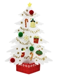 Miniature Felt White Christmas Tree Pop Up Card