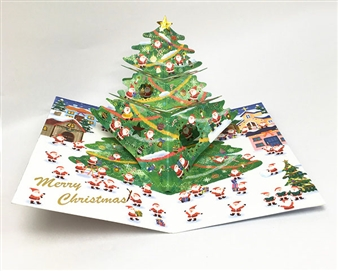 Jolly Mini Santas 3D Christmas Tree Pop Up Card