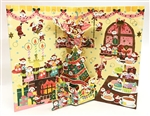 Jolly Mini Santas Wooden Cabin Pop Up Christmas Card